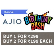 Ajio Offers and Deals Online - Buy 1 for Rs. 299, Buy 2 for Rs. 199 Each