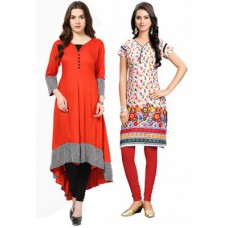 Rediff Shopping Offers and Deals Online - Buy 1 Orange Rayon Long Kurti & Get 1 Multi Colour Cotton Kurti Free