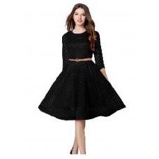 Indiarush Offers and Deals Online - Satin Black Frock Style Dress at FLAT 65% Off