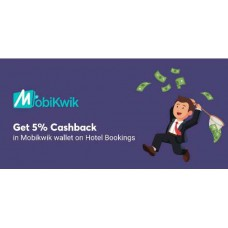 Deals, Discounts & Offers on Hotel - Additional 5% Mobikwik Cashback on all prepaid orders (Applicable on all prepaid bookings across the website)