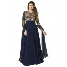 Deals, Discounts & Offers on Women Clothing - Fashionuma Blue Faux Georgette Semi Stitched Dress Material