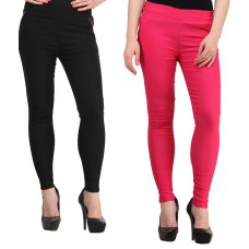 Deals, Discounts & Offers on Women Clothing - Flat 73% offer on Pack of 2 Black & Pink Solid Cotton Lycra Jeggings