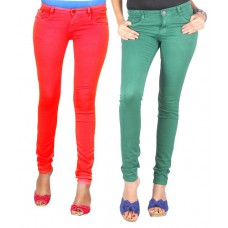 Deals, Discounts & Offers on Women Clothing - Fashion Stylus Green Cotton Lycra Jeans