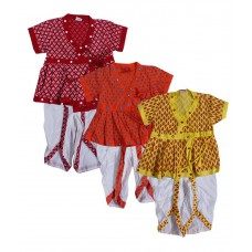 Deals, Discounts & Offers on Baby & Kids - Indirang Multicolor Cotton Dhoti Kurta for Boys - Pack of 3
