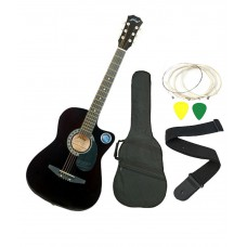 Deals, Discounts & Offers on Entertainment - Jixing Black Acoustic Guitar with Bag, Strings, Pick and Strap