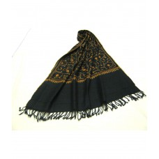 Deals, Discounts & Offers on Accessories - Sofias Black Pure Kashmiri Wool Hand Needle Embroidered Shawl