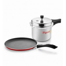 Deals, Discounts & Offers on Home & Kitchen - Pigeon Home Starter Kit - Cooker + Non-Stick Tawa Combo Aluminium 3Lat 68% off