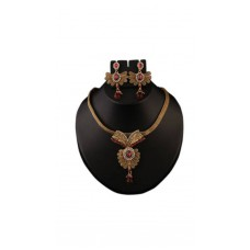Deals, Discounts & Offers on Earings and Necklace - Flat 70% offer on Kriaa Pink Alloy Necklace Set