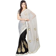 Deals, Discounts & Offers on Women Clothing - Prafful Embriodered Fashion Georgette Sari