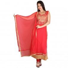 Deals, Discounts & Offers on Women Clothing - Manmandir Women's Net Pary Wear Red Salwar