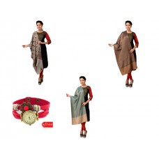 Deals, Discounts & Offers on Women Clothing - Combo of 3 Designer Shawls with FREE watch @ Rs.500.