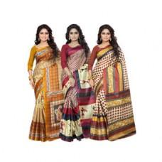Deals, Discounts & Offers on Women Clothing - Get Ambaji Silk Printed Combo of 3 Saree, design3