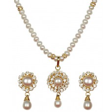Deals, Discounts & Offers on Earings and Necklace - Classique Designer Jewellery Exotic Golden Pearl Necklace Set