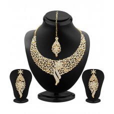 Deals, Discounts & Offers on Women - Kritika Kamra Gold Plated Party Wear Necklace Set With Maang Tika