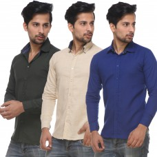 Deals, Discounts & Offers on Men Clothing - Combo Of 3 Casual Shirts For Men at Flat 80% Off