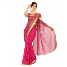 Deals, Discounts & Offers on Women Clothing - Flat 60% offer on Paaneri Pink Cotton Saree