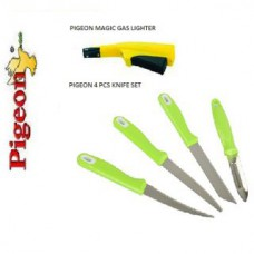 Deals, Discounts & Offers on Home Appliances - Flat 69% off on PIGEON MAGIC GAS LIGHTER +PIGEON 4 PCS KNIFE SET using coupon