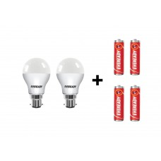 Deals, Discounts & Offers on Electronics - Eveready B22 Base 7-Watt LED Bulb with Free 4 1015 AA carbon zinc batteries