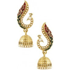 Deals, Discounts & Offers on Earings and Necklace - Voylla Artifictial Peacock Textured Crystal Alloy Jhumki Earring