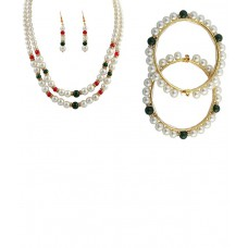 Deals, Discounts & Offers on Women - Classique Designer Jewellery Green & White Necklace Set With 2 Bangles