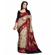Deals, Discounts & Offers on Women Clothing - Dressy Beige Bhagalpuri Silk Saree