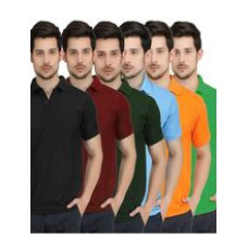 Deals, Discounts & Offers on Men Clothing - Lime Combo of 6 Polo T-shirts