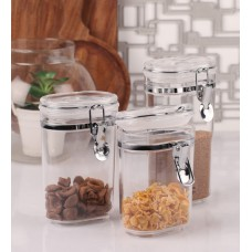 Deals, Discounts & Offers on Storage - Dynamic Store Acrylic Steel Oval Air Tight Cup Lock Container - Set of 3