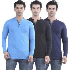 Deals, Discounts & Offers on Men Clothing - Maniac Solid Men's Henley T-Shirt