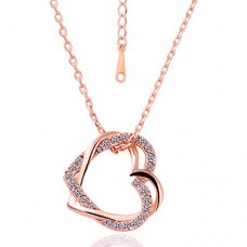Deals, Discounts & Offers on Earings and Necklace - Embracing Hearts-in-Love 18K Rose Gold Plated Austrian Crystal Pendant