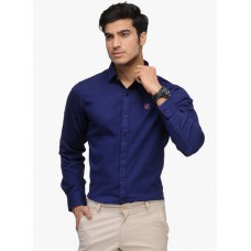 Deals, Discounts & Offers on Men Clothing - Flat 60% off on Navy Blue Solid Slim Fit Casual Shirt