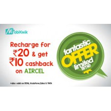 Deals, Discounts & Offers on Recharge - Rs.10 Cashback on Prepaid Recharges of Rs.20 and above on Aircel