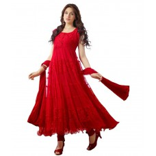Deals, Discounts & Offers on Women Clothing - Lavi's Women's Red Brasso Net Anarkali