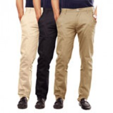 Deals, Discounts & Offers on Men Clothing - Pack of 3 Uber Urban Slim Fit Trousers Starting @ 1769