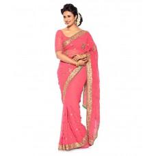 Deals, Discounts & Offers on Women Clothing - EK Pink Faux Georgette Saree