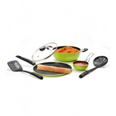 Deals, Discounts & Offers on Home & Kitchen - 57% Discount on Sumeet Six Pix Aluminum 5-piece Green and Black Non Stick Cookware Set