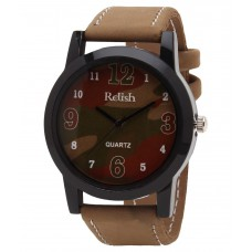 Deals, Discounts & Offers on Accessories - Relish Beige Leather Round Analog Watch offer