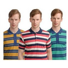 Deals, Discounts & Offers on Men Clothing - Combo of 3 Striped Men Polo T Shirts at Rs 899 only