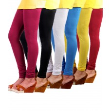 Deals, Discounts & Offers on Women Clothing - Flat 33% offer on M M Garments Multi Color Cotton Lycra Leggings - Pack Of 6