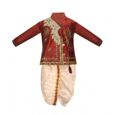 Deals, Discounts & Offers on Men Clothing - Vastramay Maroon And White Dhoti Kurta For Boys
