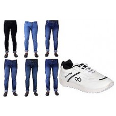 Deals, Discounts & Offers on Men Clothing - Combo of White And Black Men Sports Shoes With 6 Jeans at Rs 2085 only