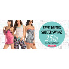 Deals, Discounts & Offers on Women Clothing - Flat 25% off on all nightwear using coupon in PrettySecrets