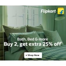 Deals, Discounts & Offers on Home Improvement - Bath,bed & more Buy 2 Get Extra 25% off in Flipkart