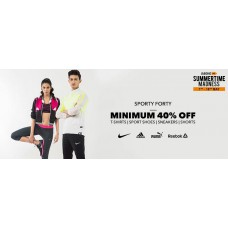 Deals, Discounts & Offers on Men - Sporty Forty- Minimum 40% off  on T-Shirts , Sport Shoes , Sneakers  and Shorts