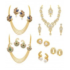 Deals, Discounts & Offers on Earings and Necklace - Sukkhi Combo of Three Golden Alloy Necklace Set with Three Earrings