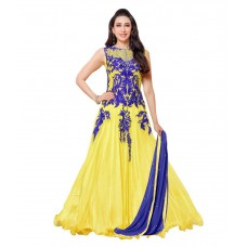 Deals, Discounts & Offers on Women Clothing - Whatshop Yellow Georgette Embroidered Anarkali Dress Material