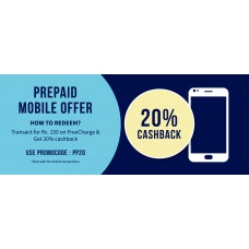 Deals, Discounts & Offers on Recharge - 20% cash-back on minimum Prepaid Recharge of Rs150 or more. Max cash-back