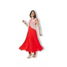 Deals, Discounts & Offers on Women Clothing - Mazedar Shop Pankhudi Georgette Red Semi Stitched Anarkali Suit