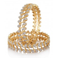 Deals, Discounts & Offers on Women - Jewells & More Sparkling Floral Design American Diamond Bangles