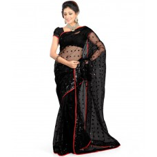 Deals, Discounts & Offers on Women Clothing - Jayambey Black Net Saree offer