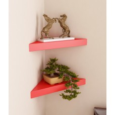 Deals, Discounts & Offers on Home Improvement - Sourcing India Red Wooden Corner Wall Shelves Buy 1 and Get 1